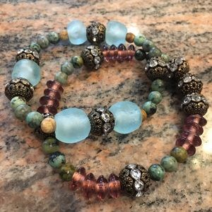 Jewelry - Exotic Stackable Glass Bead Stretch Bracelet Set